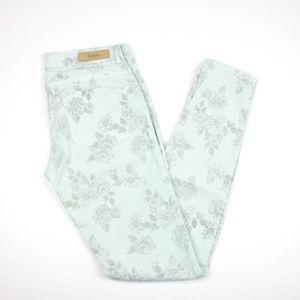 Zara Trafaluc Floral Green Low Waist Skinny Jeans